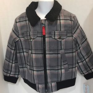 Toddler Boy's Plaid Jacket Zippered Lined